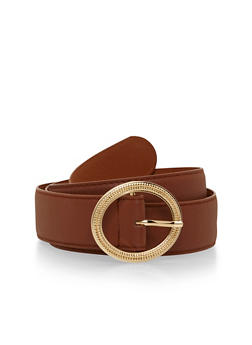 Plus Size Faux Leather Belt with Hammered Oval Buckle - 1128052805482