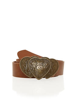 Plus Size Triple Heart Brass Buckle Belt - 1128052806993