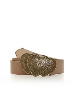 Plus Size Triple Heart Brass Buckle Belt - 1128052806993
