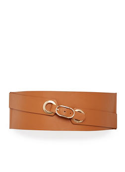 Plus Size Faux Leather Stretch Waist Belt - 1128052807090
