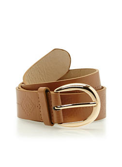 Embossed Faux Leather Belt with Metal Buckle - 1128052807434