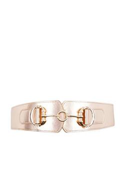 Interlocking Metallic Buckle Stretch Waist Belt - 1128066920252