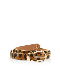 Faux Fur Leopard Skinny Belt - 1128066920416