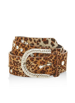 Rhinestone Studded Leopard Print Belt - 1128066920468