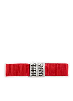 Plus Size Ruched Jewel Encrusted Buckle Waist Belt - 1128066920566