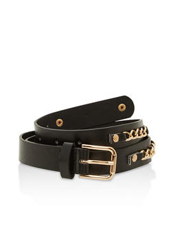Faux Leather Chain Detail Skinny Belt - 1128066921000