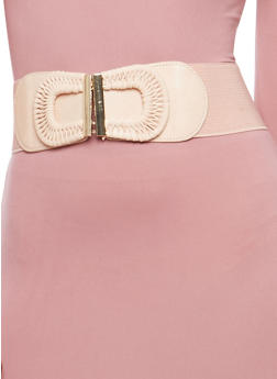 Stretch Waist Belt with Faux Leather Woven Buckle - 1128066921008