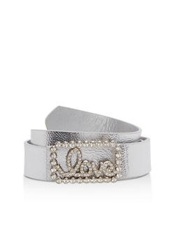 Faux Leather Love Rhinestone Buckle Belt - 1128066921113