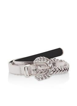 Faux Leather Braided Skinny Belt - 1128066921406