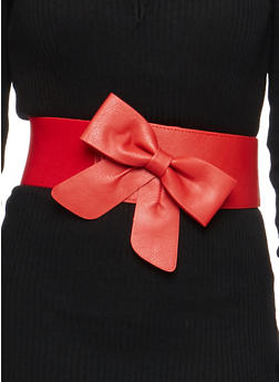Faux Leather Bow Stretch Belt - 1128066921680
