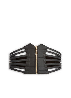Faux Leather Caged Zip Waist Belt - 1128066921723