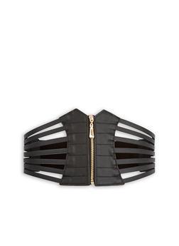 Faux Leather Caged Zip Waist Belt - 1128066921723