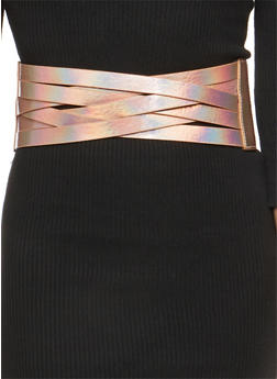 Criss Cross Faux Leather Waist Belt - 1128066921725
