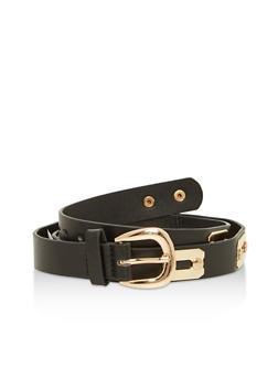Metallic Detail Faux Leather Skinny Belt - 1128066921887