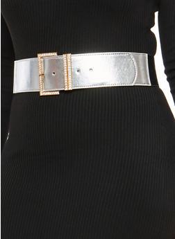 Plus Size Faux Leather Rhinestone Buckle Stretch Belt - 1128066922210