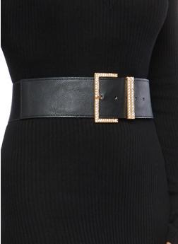 Faux Leather Rhinestone Buckle Stretch Belt - 1128066922211
