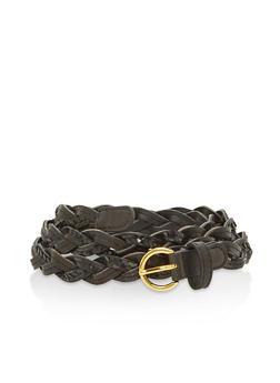 Plus Size Faux Leather Sequin Woven Belt - 1128066922310