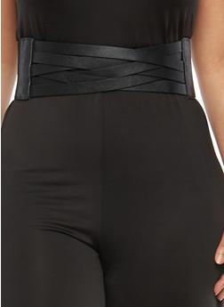 Plus Size Criss Cross Faux Leather Waist Belt - 1128066922527