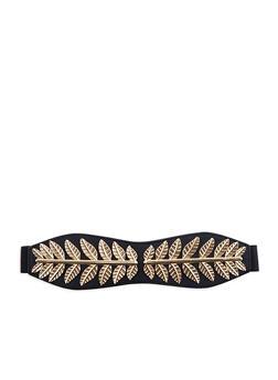 Plus Size Metallic Leaf Detailed Stretch Waist Belt - 1128066923201