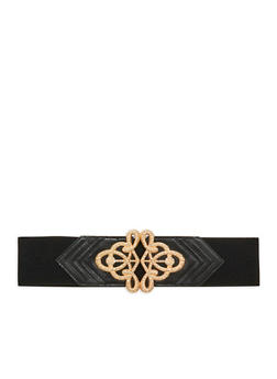 Stretch Waist Belt with Rhinestone Encrusted Buckle - 1128066923336