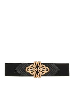 Stretch Waist Belt with Rhinestone Encrusted Buckle - 1128066923336