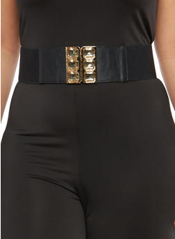 Plus Size Stretch Belt with Jewel Encrusted Buckle - 1128066924042