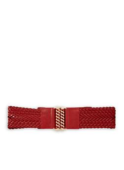 Plus Size Woven Faux Leather Stretch Waist Belt - 1128066924310