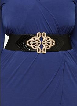 Plus Size Faux Leather Rhinestone Studded Stretch Belt - 1128066926033
