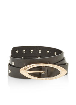 Faux Leather Rhinestone Studded Skinny Belt - 1128066927010