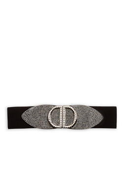 Rhinestone Encrusted Stretch Waist Belt - 1128066929029