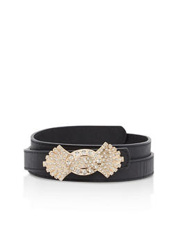 Plus Size Skinny Belt with Rhinestone Buckle - 1128066929440