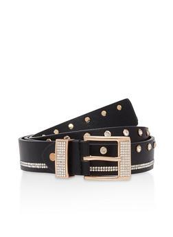Faux Leather Rhinestone Studded Belt - 1128071211111