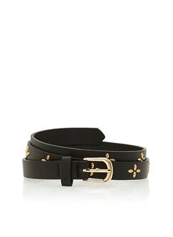 Daisy Studded Faux Leather Belt - 1128073330023