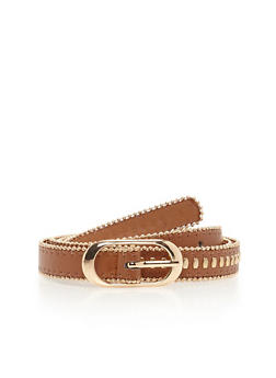 Faux Leather Skinny Belt With Bead Chain Trim - 1128073330043