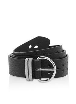 Plus Size Laser Cut Faux Leather Belt - 1128073330077