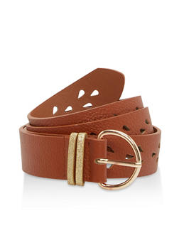 Plus Size Laser Cut Faux Leather Belt - 1128073330077