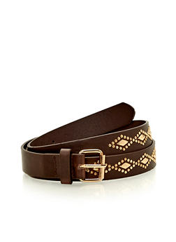 Diamond Shape Studded Faux Leather Belt - 1128073330306