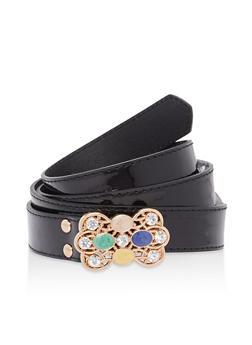 Plus Size Jeweled Buckle Faux Leather Belt - 1128073330828