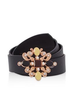 Jeweled Buckle Faux Leather Belt - 1128073330830