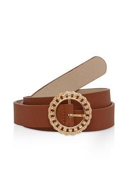 Faux Saffiano Leather Metallic Buckle Belt - 1128073331000
