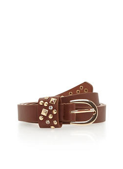 Faux Leather Belt with Studded Details - 1128073331404