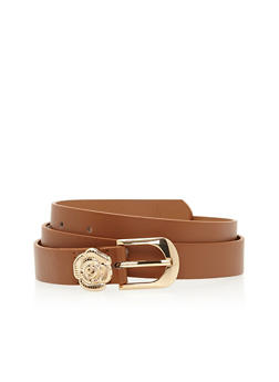 Faux Leather Belt with Metal Rose Loop Detail - 1128073334048