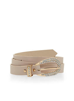 Faux Leather Belt with Rhinestone Encrusted Buckle - 1128073334581