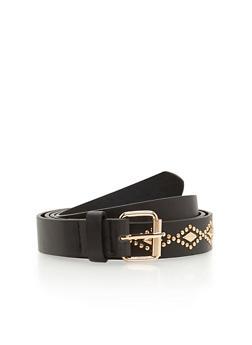 Plus Size Diamond Shape Studded Belt - 1128073335603