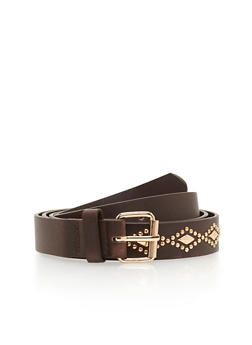 Plus Size Diamond Shape Studded Belt - 1128073335603