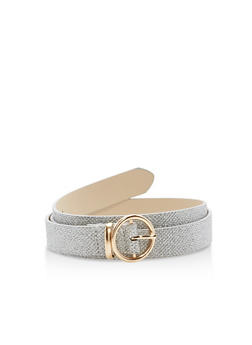 Faux Leather Round Metallic Buckle Belt - 1128073336111