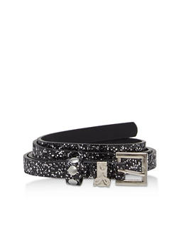 Skinny Faux Leather Glitter Belt - 1128073336240