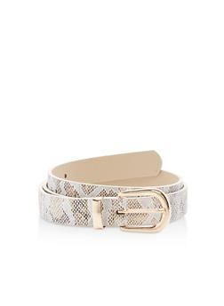 Metallic Snakeskin Faux Leather Belt - 1128073336555