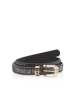 Glitter Faux Leather Skinny Belt - 1128073336556