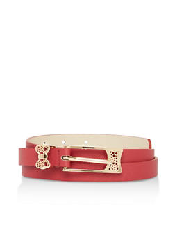 Faux Leather Butterfly Skinny Belt - 1128073336670